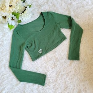 Jed North Activewear Crop Top Size XS Green Long Sleeve Workout Shirt Gym